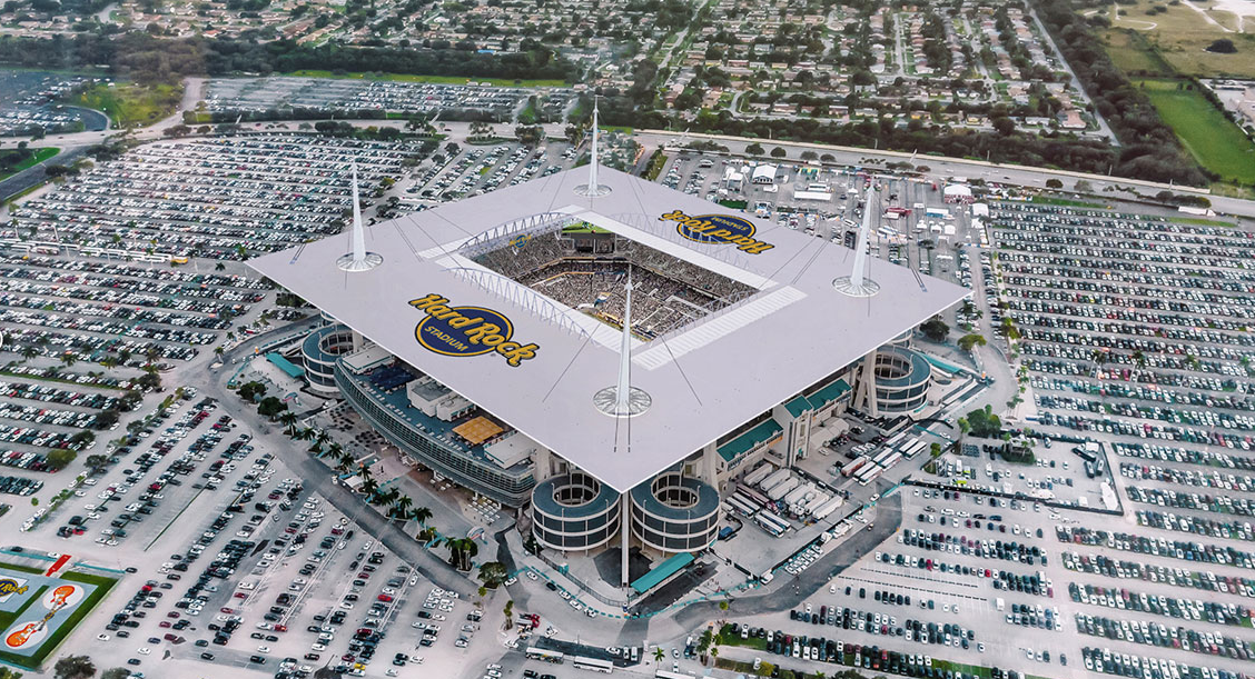 Hard Rock Stadium, casa de los Miami Dolphins y hogar del Super Bowl LIV cortesía Hard Rock Stadium